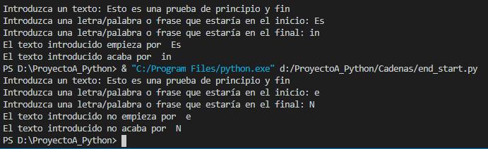 Funciones startswith() y endswith() para buscar texto de inicio o fin en una cadena en Python