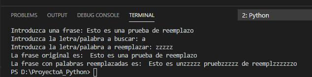 Función replace() para reemplazar un texto dentro de otro texto en Python