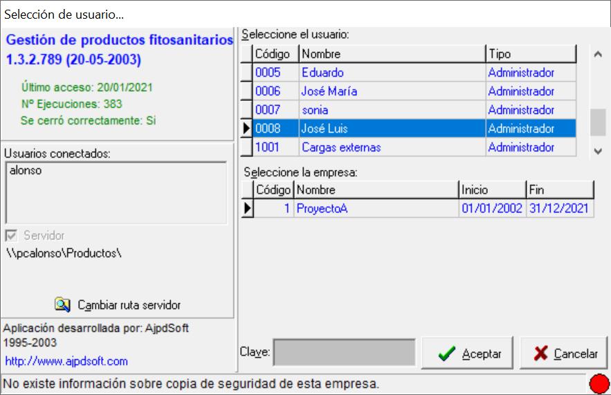 Algunas opciones de la aplicación AjpdSoft Gestión de Productos Fitosanitarios