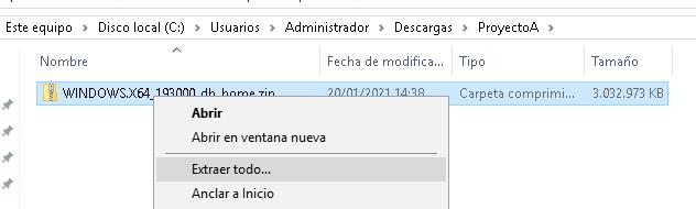 Descarga del programa de instalación de Oracle Database 19c