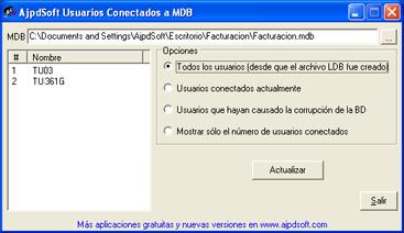 AjpdSoft Usuarios Conectados a MDB