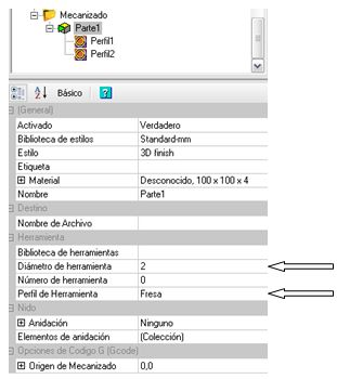 Configuración del mecanizado en CamBam