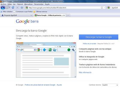 Instalar barra de Google en Mozilla Firefox 3.6