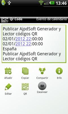 Escanear códigos QR con smartphone Samsung Galaxy SII y aplicación QR Droid