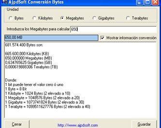 AjpdSoft Conversión Bytes