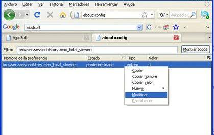 Cambiar opciones de configuración avanzadas de Mozilla Firefox