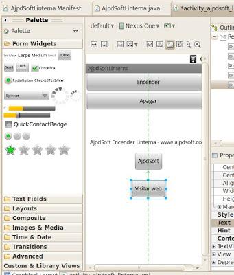Añadir un botón desde Graphical Layout o manualmente desde fichero XML