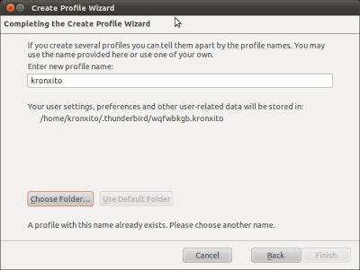 Cambiar la ubicación del perfil de Mozilla Thunderbird en Linux Ubuntu