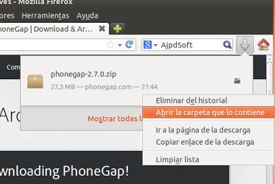 Descagar y descomprimir PhoneGap de Apache Cordova para Eclipse