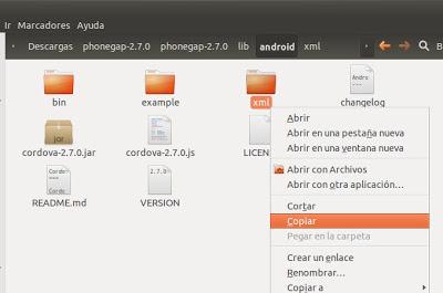 Preparar proyecto Android en Eclipse con Framework PhoneGap