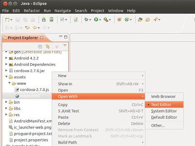 Crear aplicación Android con PhoneGap en Eclipse