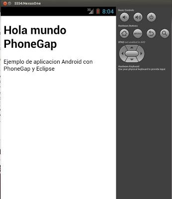 Mi primera aplicación con PhoneGap y Eclipse para Android