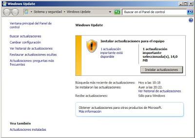 Actualizaciones de seguridad más recientes de Windows Update