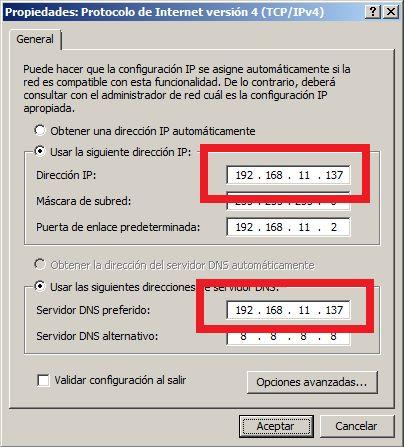 Configuración de red en el servidor DNS y en los clientes DNS tras instalar rol Servidor DNS