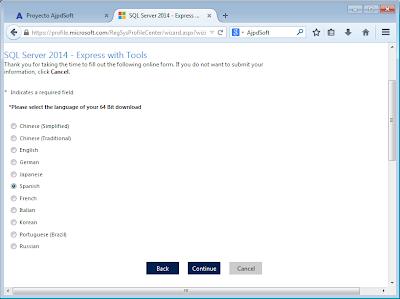 Descarga gratuita de Microsoft SQL Server Express 2014