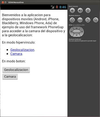 Trabajar con la cámara y la geolocalización con PhoneGap en app Android