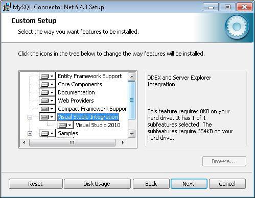 Requisitos para desarrollar aplicación con acceso a MySQL nativo usando Visual C# .Net y driver Connector/Net ADO.NET