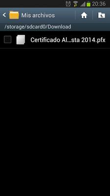 Instalar certificado digital desde la tarjeta SDCard en un Samsung Galaxy S3 con Android 4.1.2