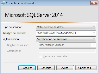 Montar servidor base datos gratuito SQL Server Express 2014 x64 en Windows 7