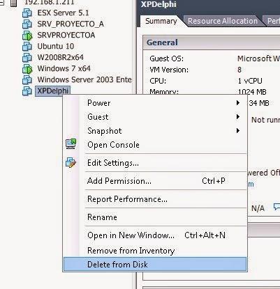 Eliminar una máquina virtual completa de un servidor de virtualización VMware ESX