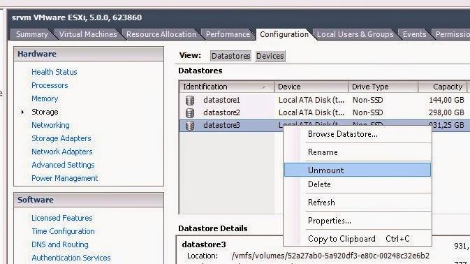 Desmontar y eliminar un datastore en un servidor de virtualización VMware ESX