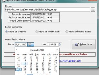 AjpdSoft Modificar fechas de fichero