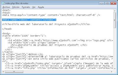 Impedir indexación de URL mediante fichero robots.txt del sitio web
