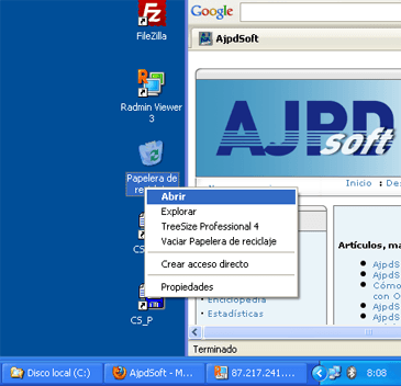 Eliminar ficheros y vaciar papelera manualmente en Windows XP