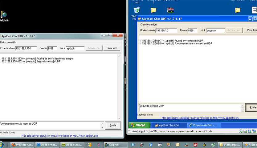 Enviar y recibir datos mediante el protocolo UDP con Borland Delphi 6