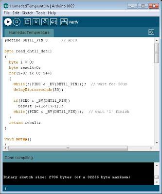 Enviar programa para obtener temperatura y humedad a Arduino y testear resultado