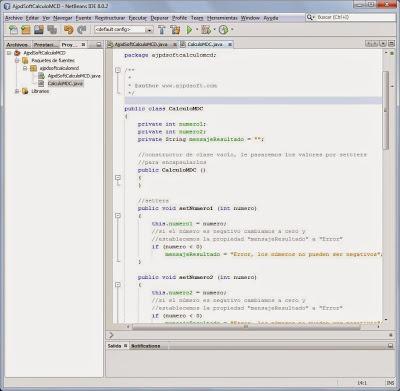 Crear clase CalculoMCD para calcular el máximo común divisor MCD de dos números mediante Java