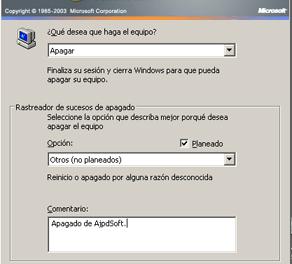 El Rastreador de sucesos de apagado de Windows Server 2003