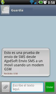 La aplicación AjpdSoft Envío de SMS en funcionamiento