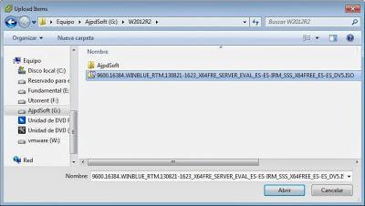 Establecer el fichero ISO de W2012 como DVD de arranque para la máquina virtual ESXi