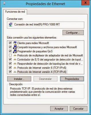 Establecer IP estática fija para W2012R2