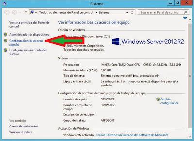 Activar acceso remoto por Terminal Server o Escritorio Remoto a servidor Windows Server 2012 W2012
