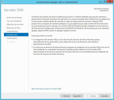 Instalar rol de Servidor de DNS en Windows Server 2012