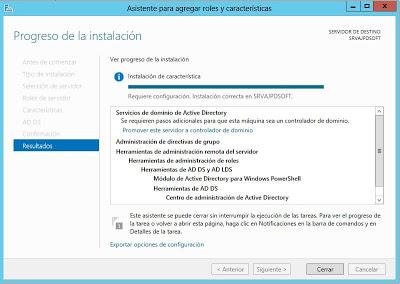 Instalar rol de Servicios de dominio de Active Directory en Windows Server 2012