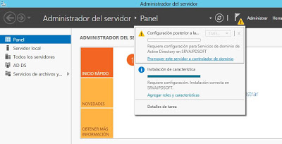 Servicios de dominio de Active Directory Windows Server 2012 controlador dominio