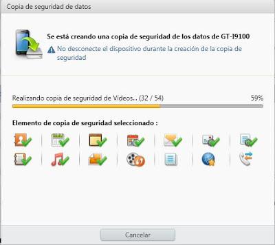 Copia de seguridad de los datos y configuraciones del Samsung Galaxy SII con Kies