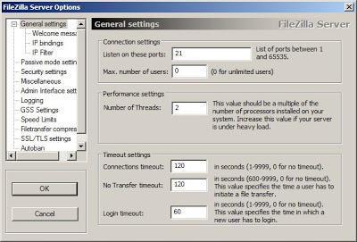 Acceso a las opciones de configuración de FileZilla Server