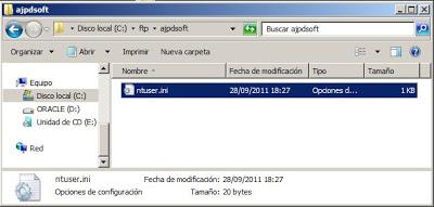 Prueba de acceso al servidor FTP con cliente FTP por comando de Windows Server 2008