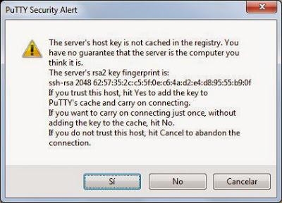 Acceso remoto SSH con PuTTY desde equipo Windows a equipo Linux CentOS