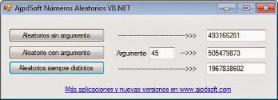 AjpdSoft Números Aleatorios Código Fuente Visual Basic Net