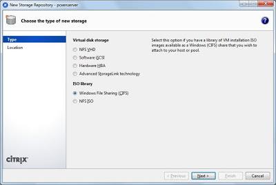 Crear un nuevo Storage en XenServer apuntando a una carpeta compartida de otro equipo de la red