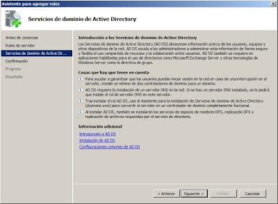 Instalar rol de Servicios de dominio de Active Directory en Windows Server 2008