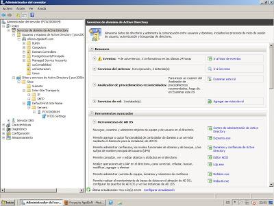 Configuración, herramientas tras la promoción a controlador de dominio en Windows Server 2008
