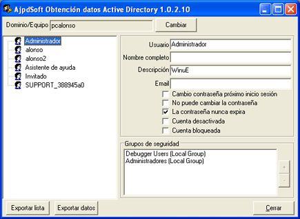 AjpdSoft Obtención datos Active Directory Código Fuente Delphi 6