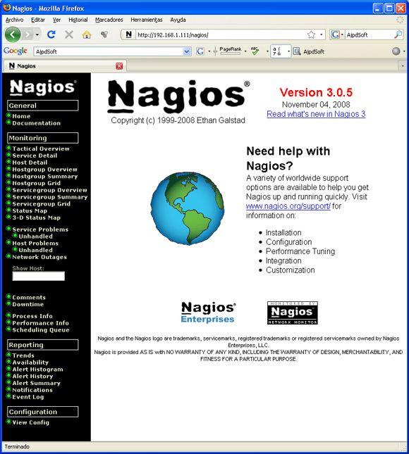 Instalación y configuración de Nagios para monitorizar la red - Acceso a la administración web