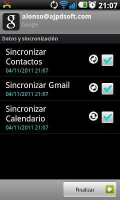 Sincronizar móvil Samsung Galaxy S II con cuenta de Google GMail
